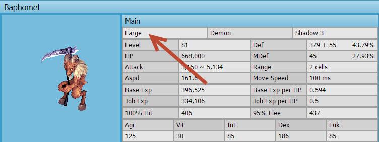 ขนาดของมอนสเตอร์ในเกมRO
